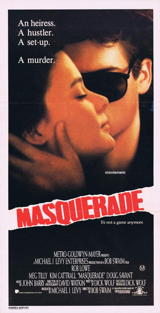 MASQUERADE Original Daybill Movie poster Rob Lowe Meg Tilly Kim Cattrall
