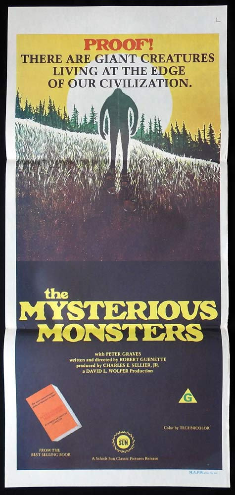 MYSTERIOUS MONSTERS Original Daybill Movie Poster Peter Graves Bigfoot Loch Ness Monster