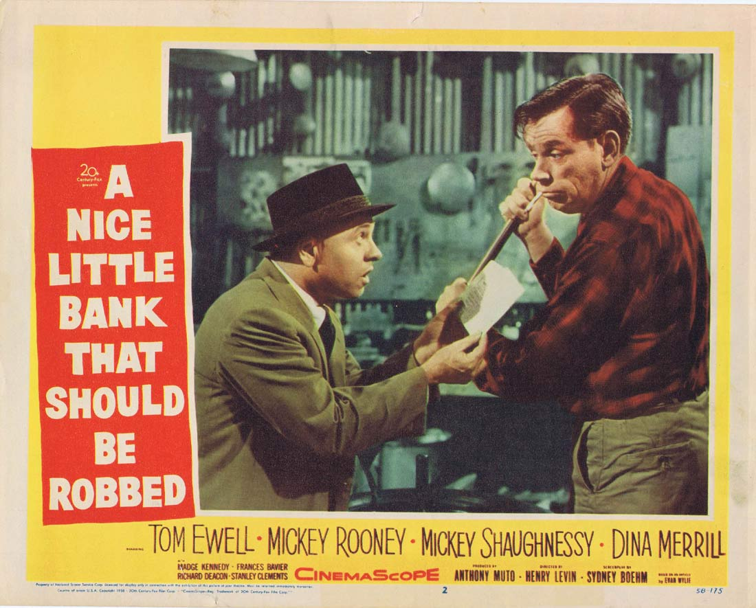 A NICE LITTLE BANK THAT SHOULD BE ROBBED Original Lobby Card 2 Tom Ewell Mickey Rooney