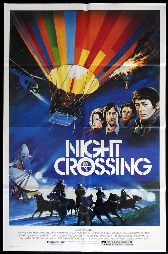 NIGHT CROSSING Rare US One sheet Movie poster John Hurt Hot Air Balloon Doberman