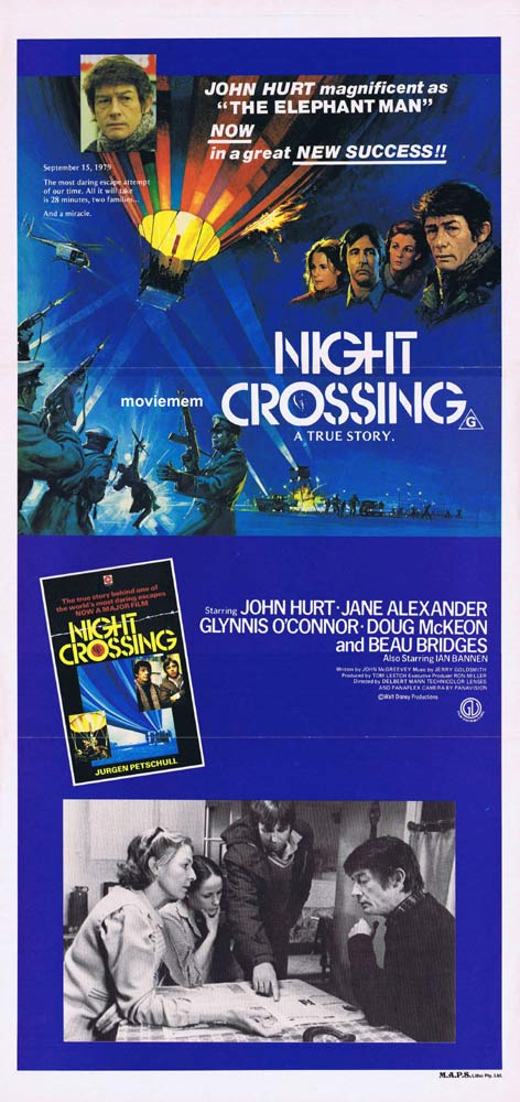 NIGHT CROSSING Daybill Movie poster JOHN HURT Hot Air Balloon Beau Bridges