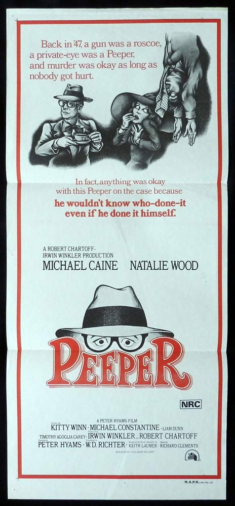PEEPER Rare Original daybill movie poster MICHAEL CAINE Natalie Wood
