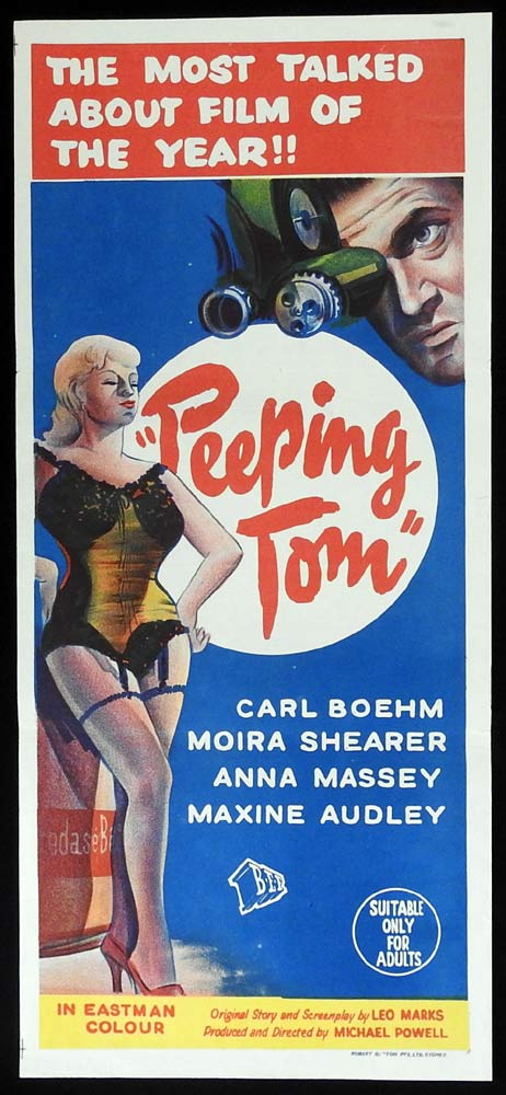 PEEPING TOM Daybill Movie poster Karlheinz Böhm Moira Shearer