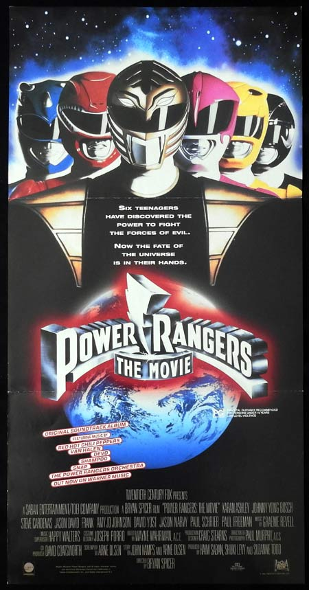 POWER RANGERS THE MOVIE Original Daybill Movie Poster Red Hot Chilli Peppers