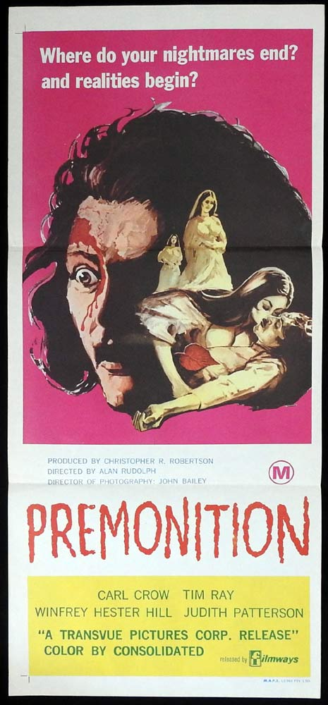 PREMONITION Original Daybill Movie Poster Carl Crow Horror