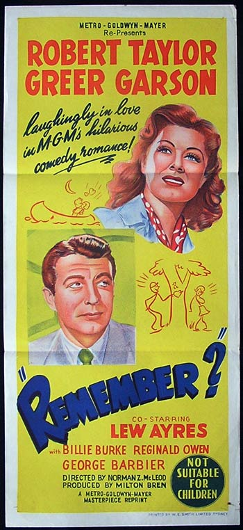 REMEMBER? Original 50sr Daybill Movie Poster Greer Garson Robert Taylor