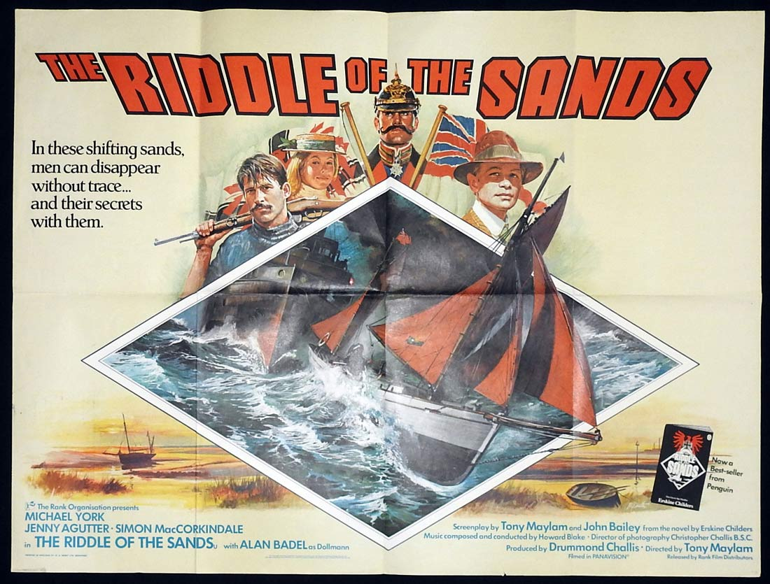 THE RIDDLE OF THE SANDS British Quad Movie poster Michael York Jenny Agutter