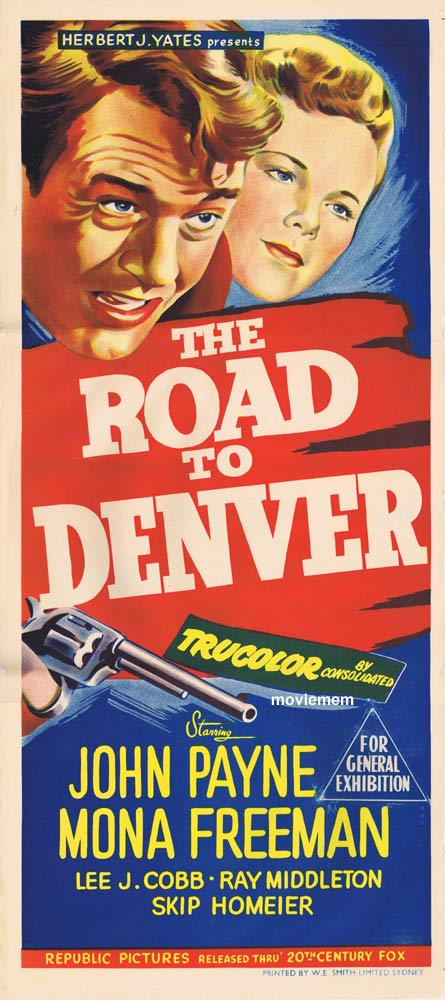 ROAD TO DENVER Original Daybill Movie poster John Payne Film Noir
