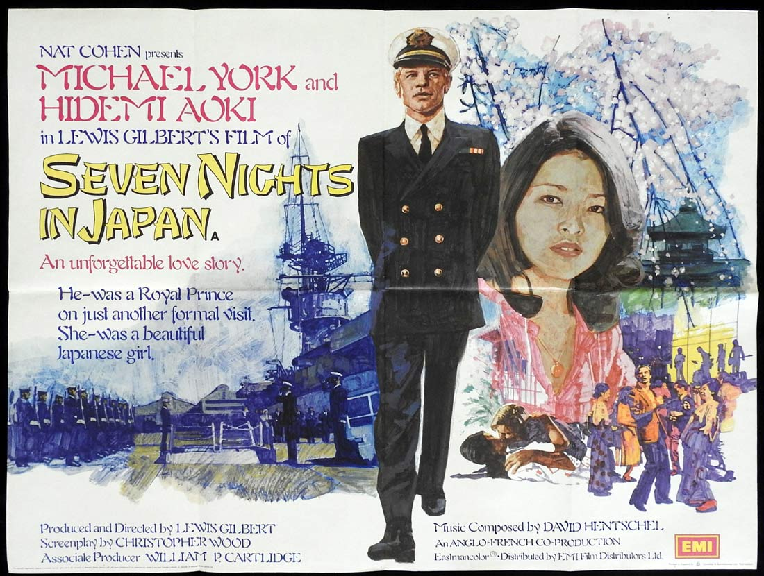 SEVEN NIGHTS IN JAPAN British Quad Movie poster Michael York Hidemi Aoki