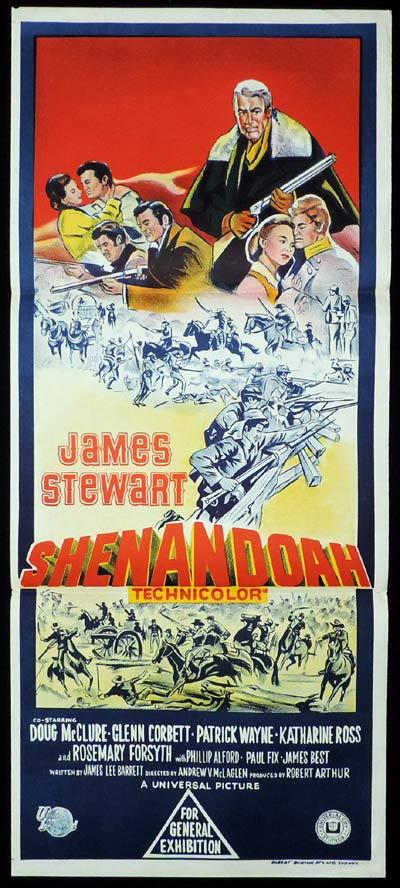 SHENANDOAH Original Daybill Movie Poster James Stewart Doug McLure