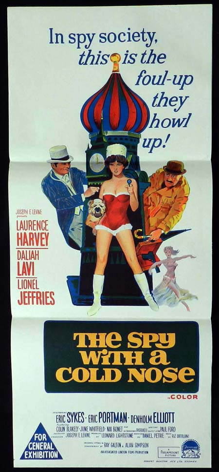 THE SPY WITH A COLD NOSE Daybill Movie poster Laurence Harvey Daliah Lavi