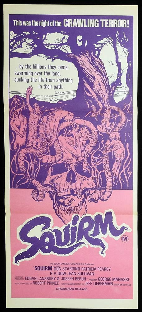 SQUIRM Original Daybill Movie poster Don Scardino Killer Worms