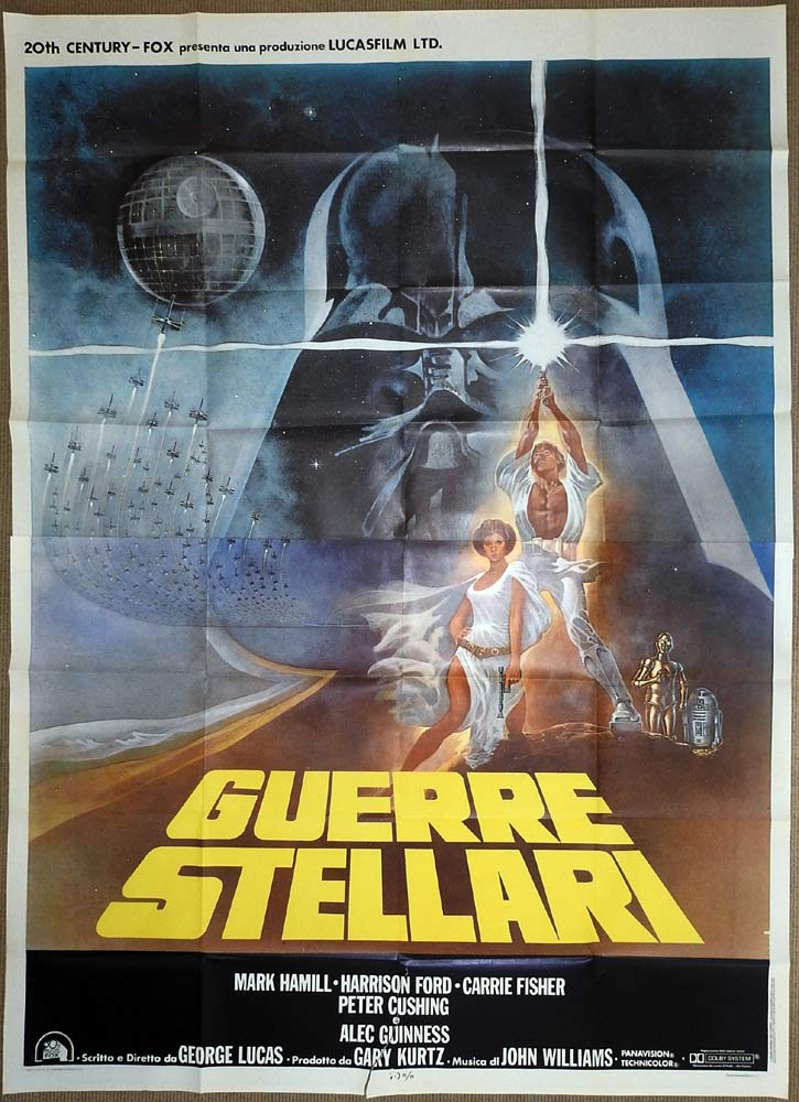 STAR WARS Original Italian 2p Movie Poster Tom Jung art