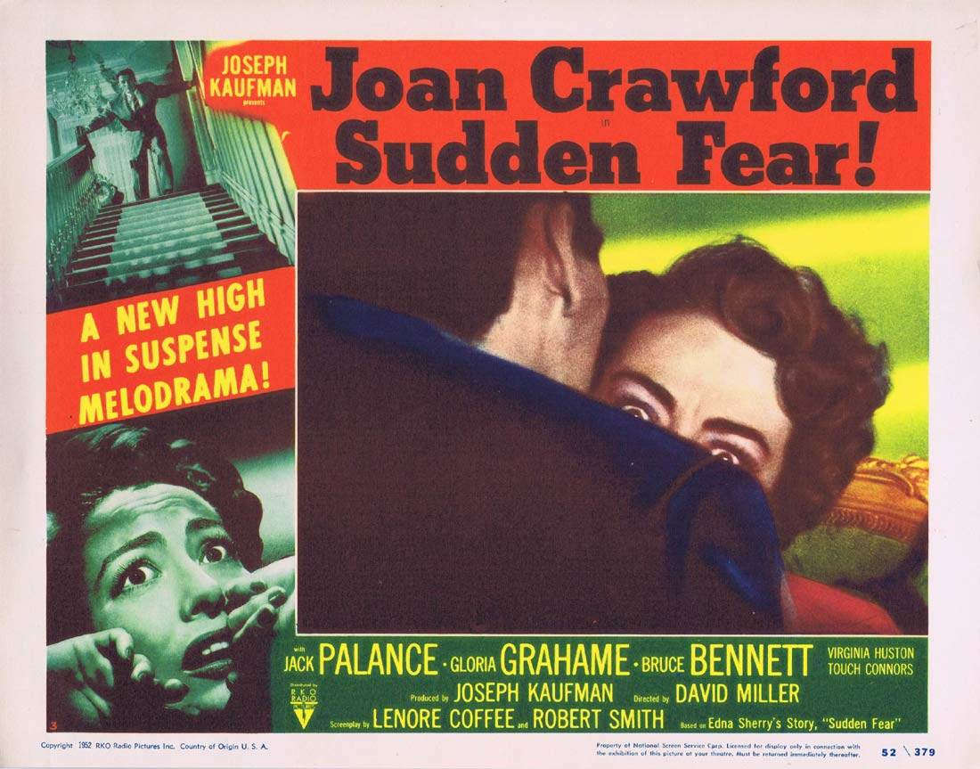 SUDDEN FEAR Original Lobby Card 3 Joan Crawford Jack Palance