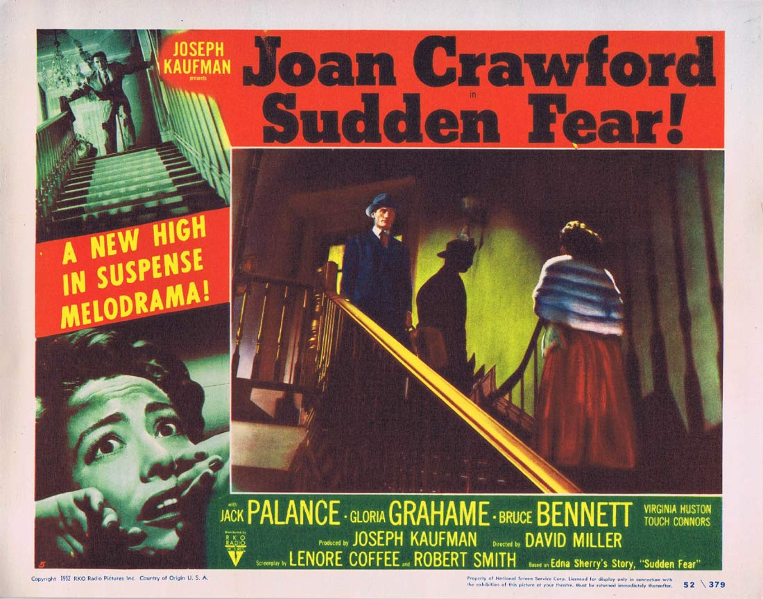 SUDDEN FEAR Original Lobby Card 5 Joan Crawford Jack Palance