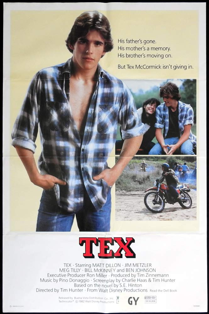 TEX Original US One sheet Movie Poster Dirt Bike Motorcycle Matt Dillon Meg Tilly