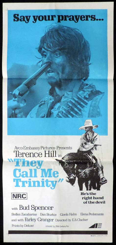 THEY CALL ME TRINITY Daybill Movie Poster Spaghetti Western Terence Hill Bud Spencer