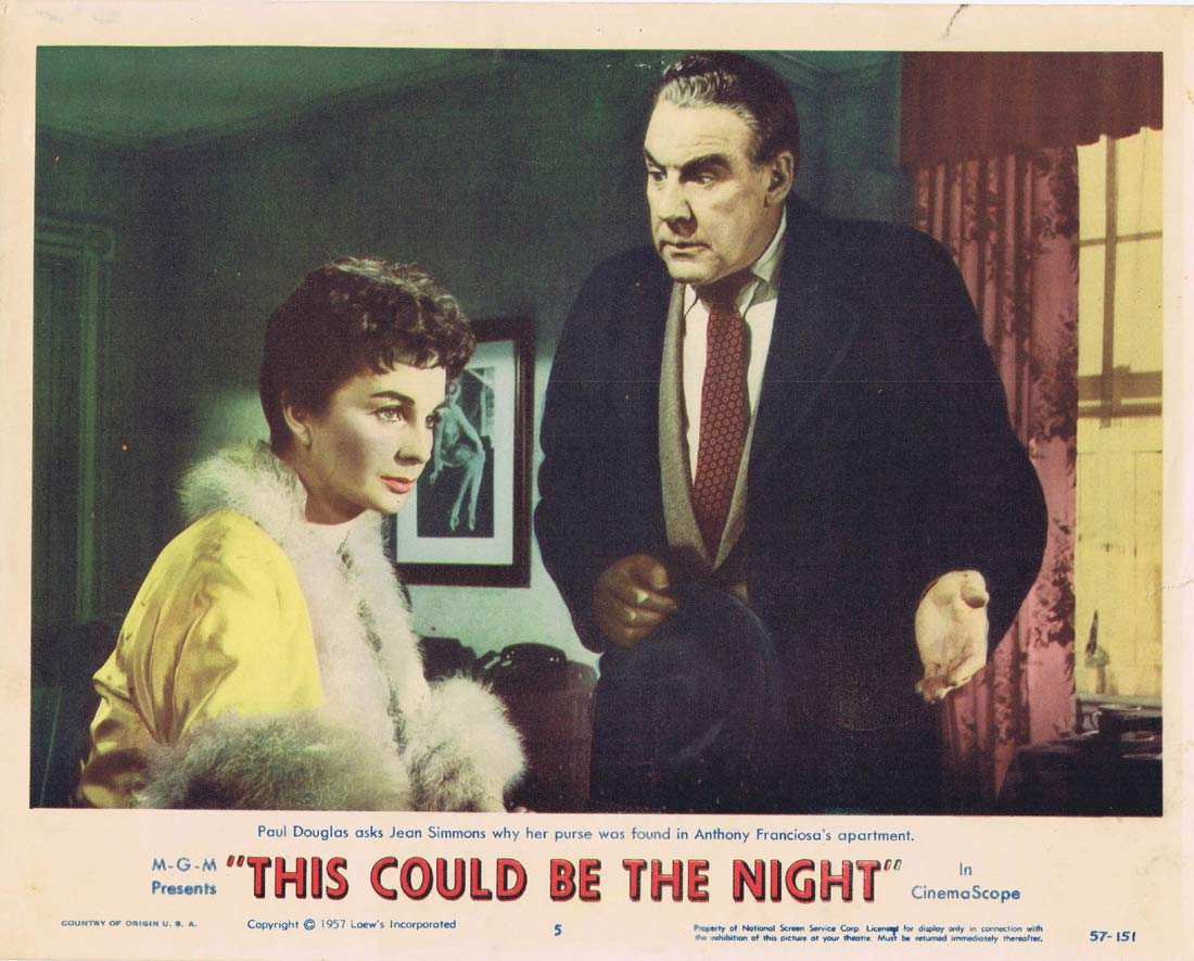 THIS COULD BE THE NIGHT Original Lobby Card 5 Jean Simmons Paul Douglas