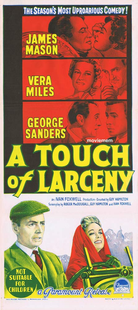 A TOUCH OF LARCENY Original Daybill Movie Poster James Mason George Sanders