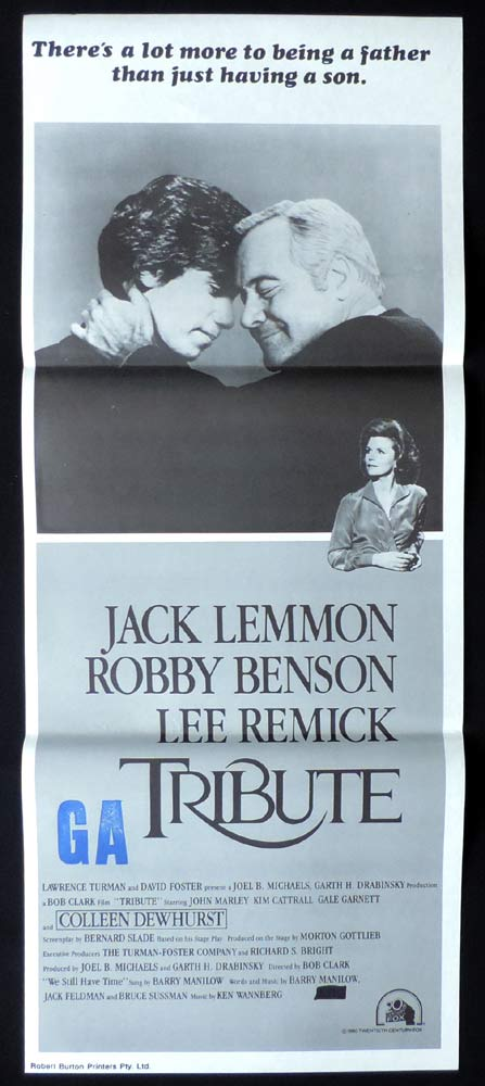 TRIBUTE Original daybill Movie poster Jack Lemmon Robby Benson