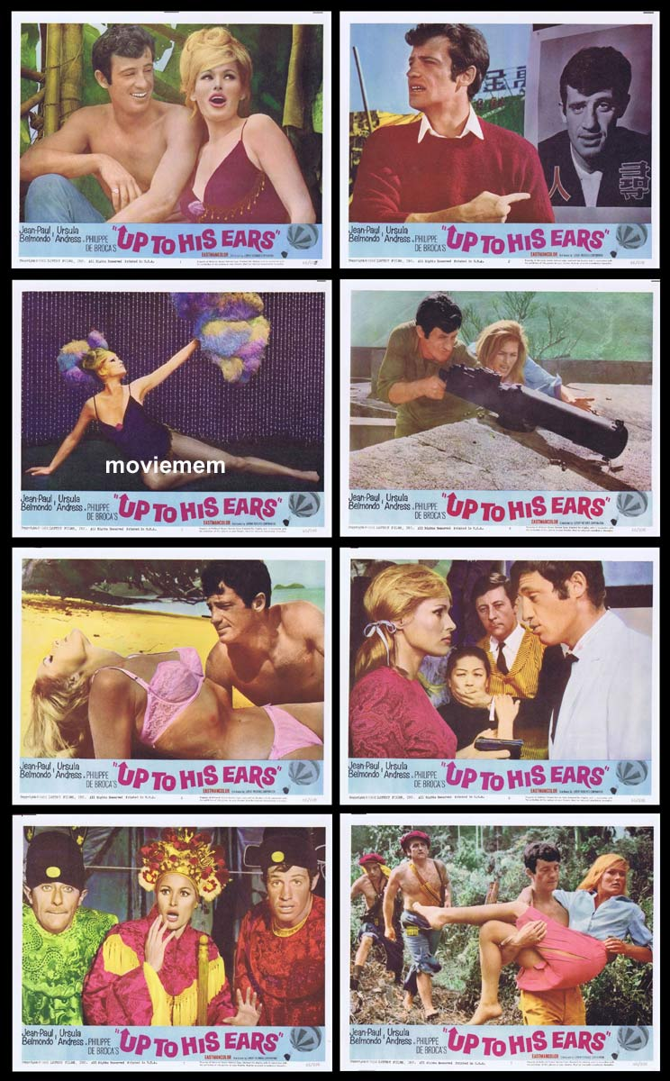 UP TO HIS EARS Original Lobby Card set Jean-Paul Belmondo Ursula Andress