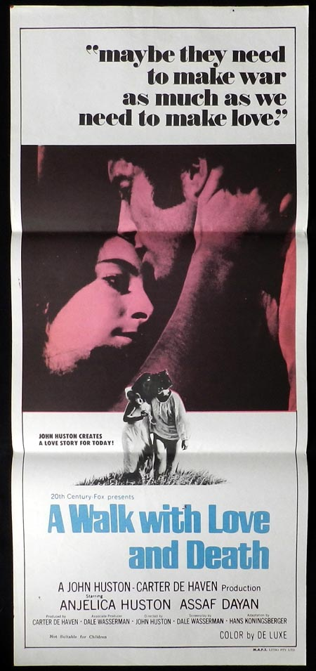 A WALK WITH LOVE AND DEATH Daybill Movie poster Anjelica Huston Assi Dayan