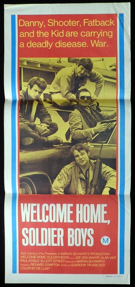 WELCOME HOME SOLDIER BOYS Daybill Movie poster Joe Don Baker Paul Koslo
