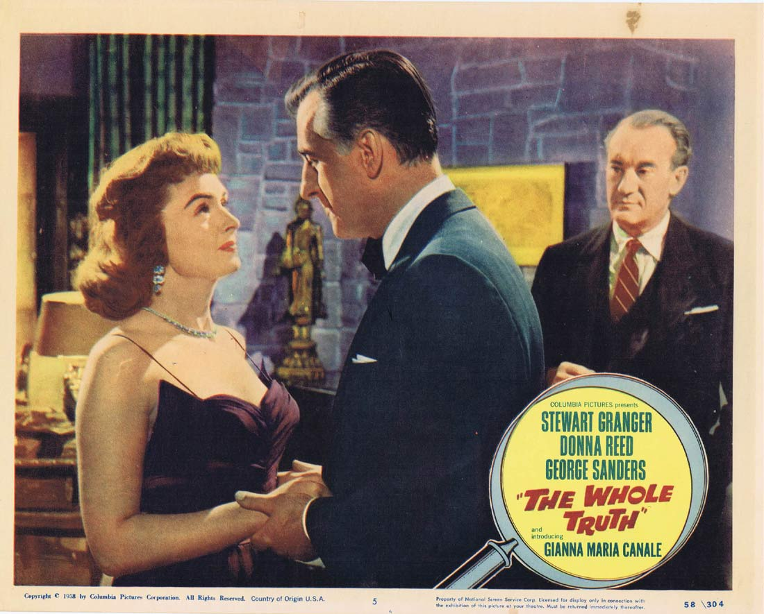 THE WHOLE TRUTH Original Lobby Card 5 Stewart Granger Donna Reed George Sanders