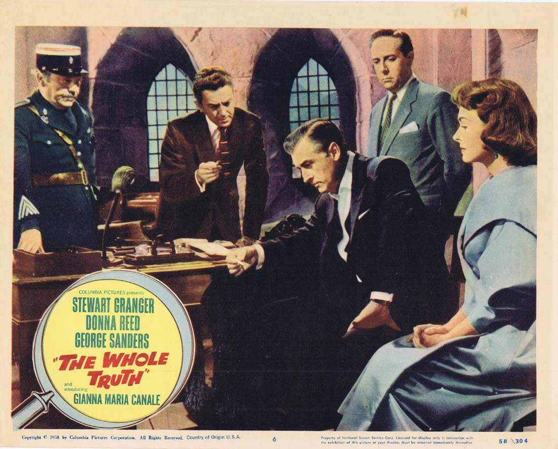 THE WHOLE TRUTH Original Lobby Card 6 Stewart Granger Donna Reed George Sanders