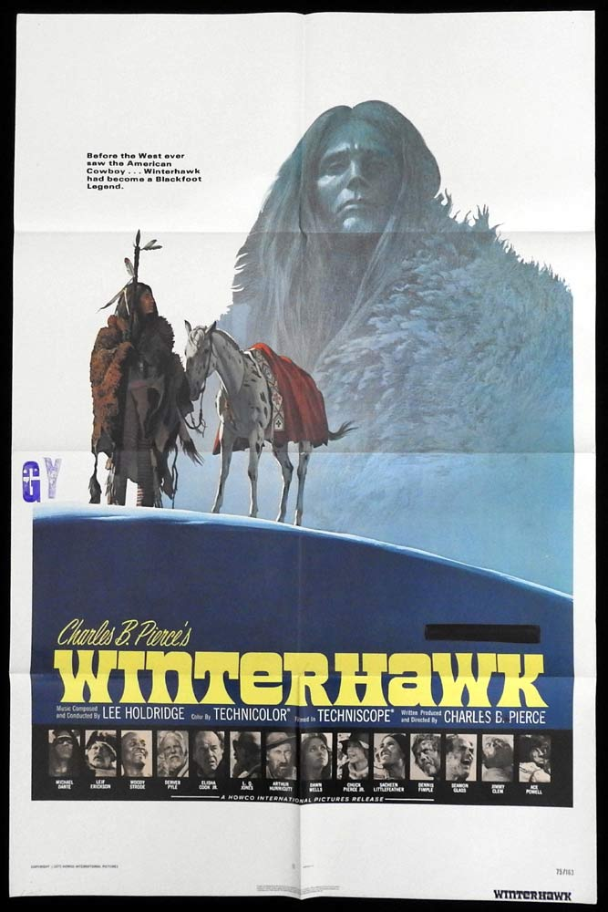 WINTERHAWK Original One sheet Movie Poster Leif Erickson Woody Strode Blackfoot