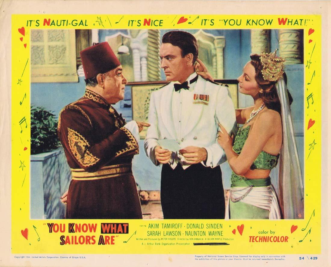 YOU KNOW WHAT SAILORS ARE Original Lobby Card 4 Akim Tamiroff Donald Sinden