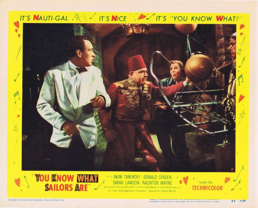 YOU KNOW WHAT SAILORS ARE Original Lobby Card 5 Akim Tamiroff Donald Sinden