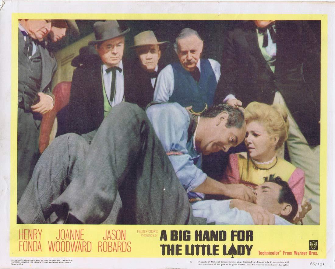 A BIG HAND FOR A LITTLE LADY Original Lobby Card 4 Gambling Henry Fonda Joanne Woodward