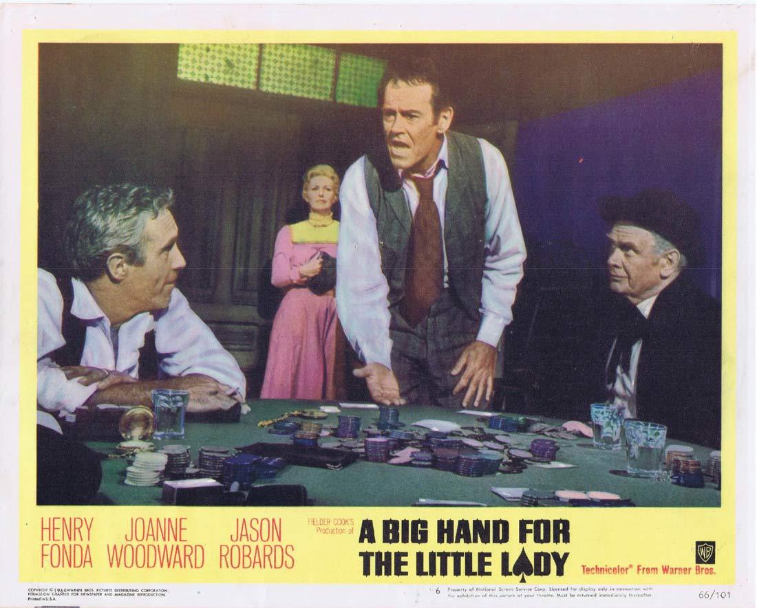 A BIG HAND FOR A LITTLE LADY Original Lobby Card 6 Gambling Henry Fonda Joanne Woodward