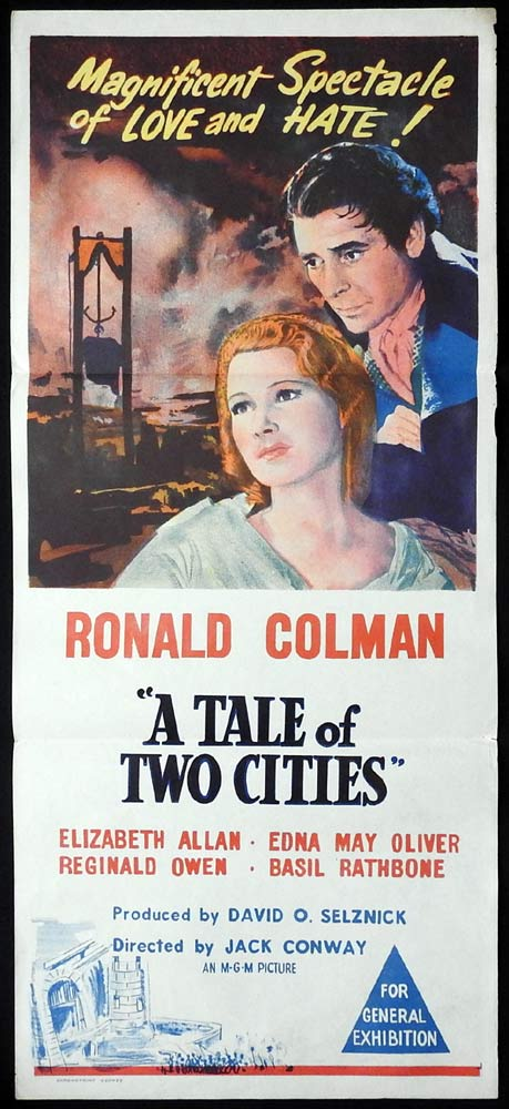 A TALE OF TWO CITIES Original 50sr Daybill Movie Poster Ronald Colman Elizabeth Allan