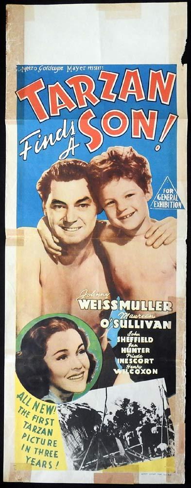 TARZAN FINDS A SON Original Long Daybill Movie poster Johnny Weissmuller