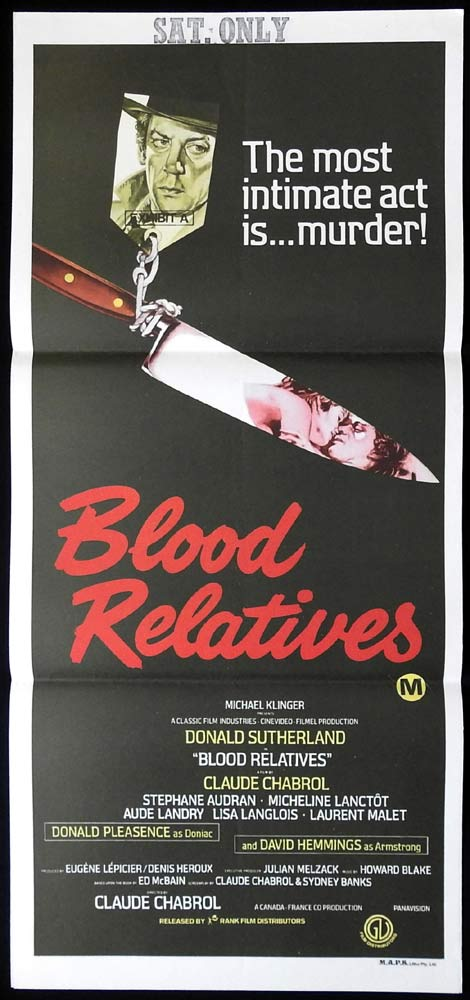 BLOOD RELATIVES Original Daybill Movie Poster Robert Shaw Patrick Magee