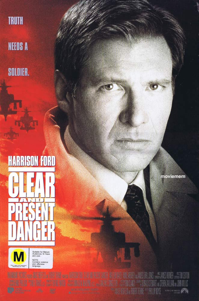 CLEAR AND PRESENT DANGER Original Daybill Movie Poster Harrison Ford