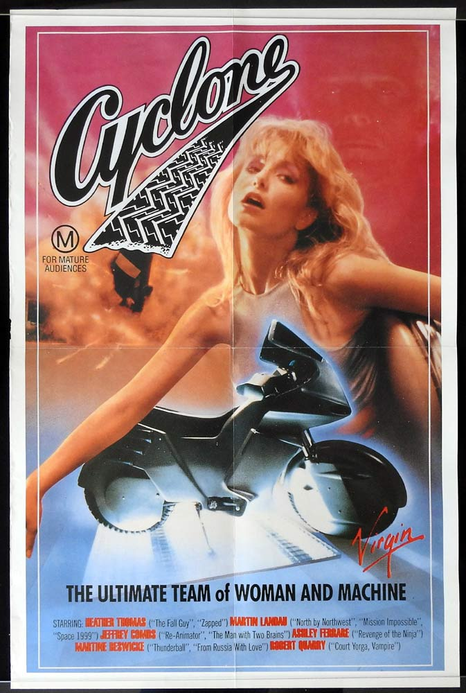 CYCLONE Original Video Release One sheet Movie Poster Heather Thomas Jeffrey Combs