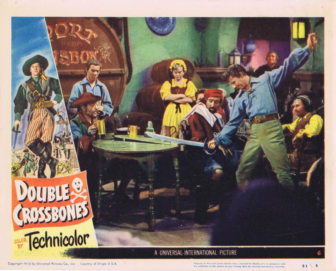 DOUBLE CROSSBONES Original Lobby Card 6 Donald O'Connor Helena Carter.