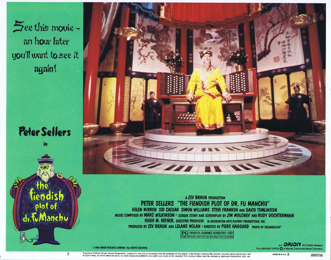 THE FIENDISH PLOT OF FU MANCHU Original Lobby Card 2 Peter Sellers Helen Mirren