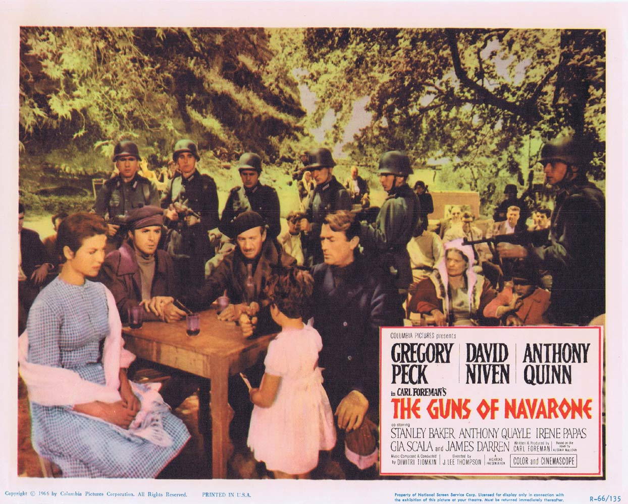 GUNS OF NAVARONE 1966r Original Lobby Card 8 Gregory Peck
