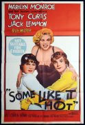 SOME LIKE IT HOT Original One sheet Movie Poster Marilyn Monroe Billy Wilder