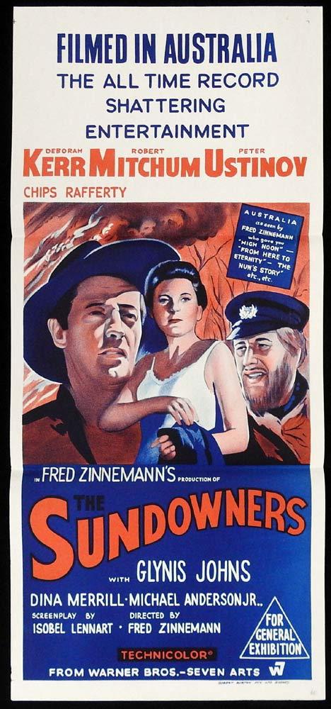 THE SUNDOWNERS 1960sr Daybill Movie Poster Deborah Kerr Robert Mitchum Peter Ustinov