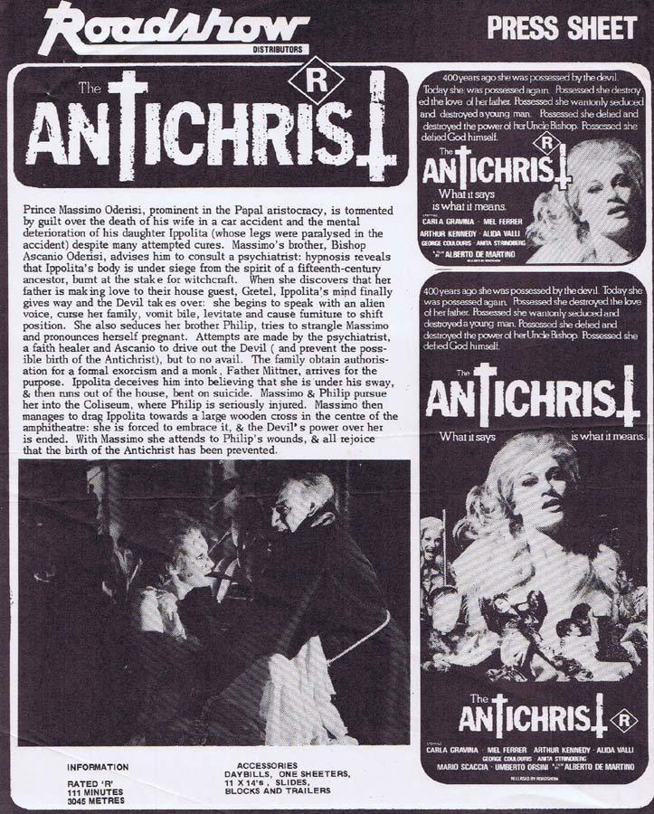 THE ANTICHRIST Rare AUSTRALIAN Movie Press Sheet Horror