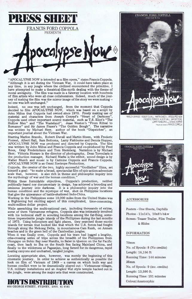 APOCALYPSE NOW Rare AUSTRALIAN Movie Press Sheet Marlon Brando Robert Duvall