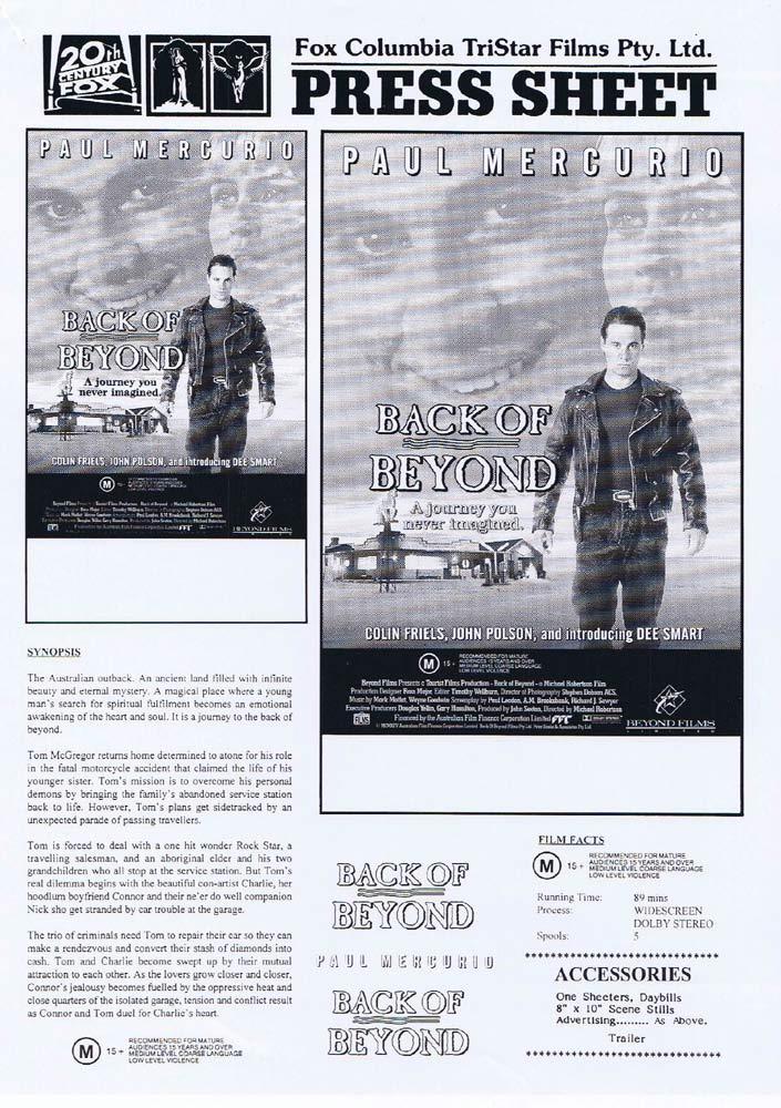 BACK OF BEYOND Rare AUSTRALIAN Movie Press Sheet Paul Mercurio