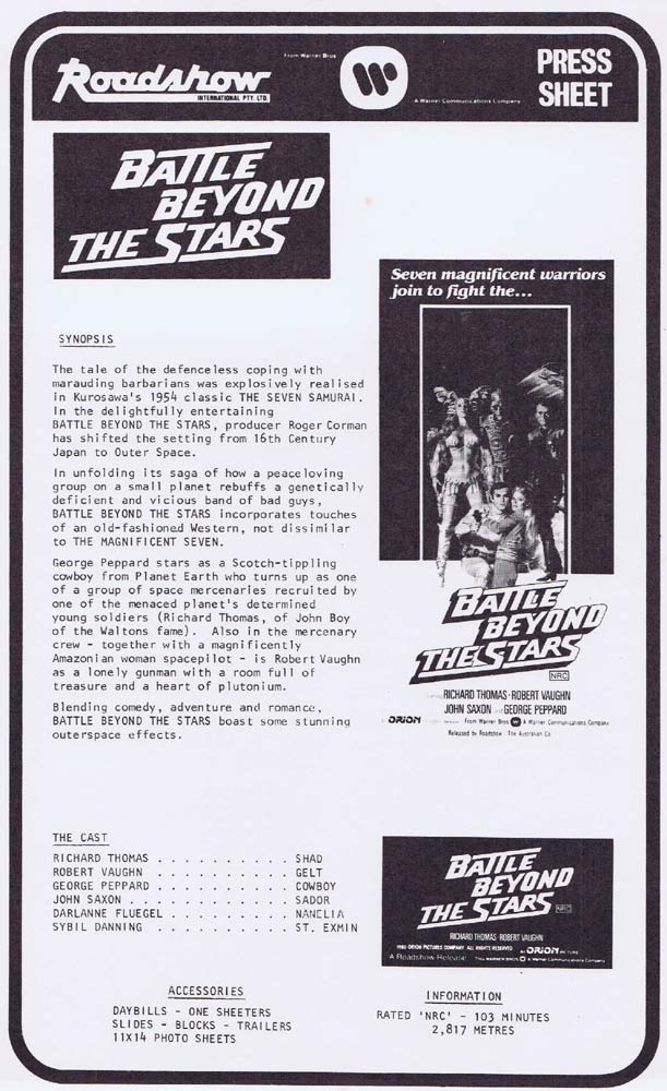 BATTLE BEYOND THE STARS Rare AUSTRALIAN Movie Press Sheet Christopher Reeve
