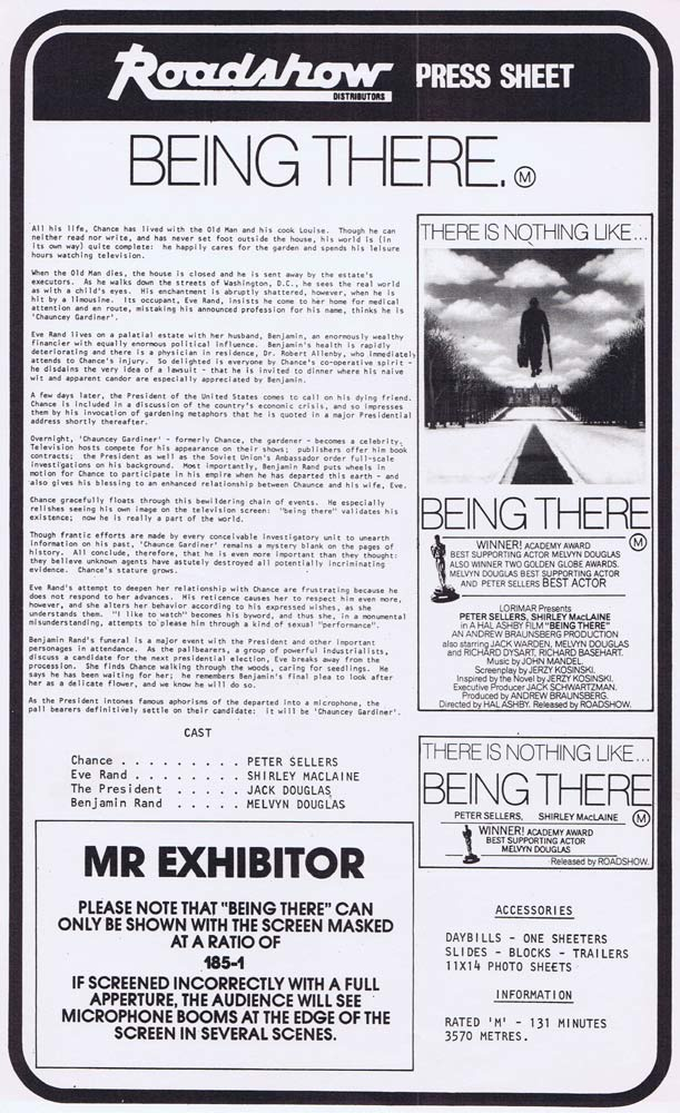 BEING THERE Rare AUSTRALIAN Movie Press Sheet Peter Sellers Shirley MacLaine