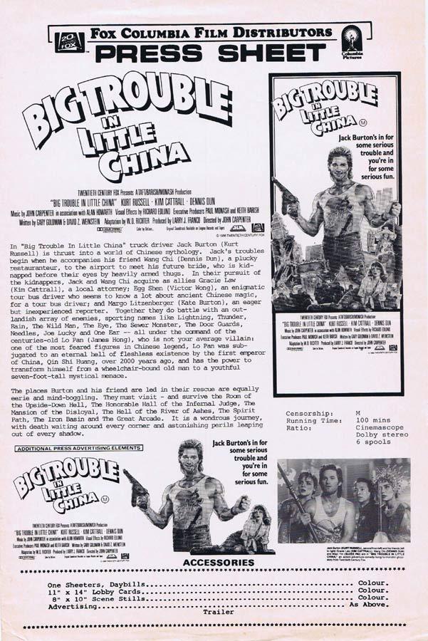 BIG TROUBLE IN LITTLE CHINA Rare AUSTRALIAN Movie Press Sheet Kurt Russell